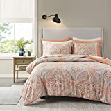 Comfort Spaces Bed in A Bag - Trendy Casual Design Cozy Comforter with Complete Sheet Set with Side Pocket, All Season Cover, Matching Shams, Queen(90'x90'), Gloria, Damask Coral 9 Piece