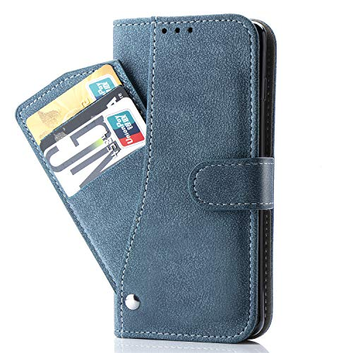 Asuwish Pixel 2 Wallet Case,Luxury Leather Phone Cases with Credit Card Holder Slot Stand Kickstand Shockproof Rugged Book Flip Folio Protective Cover for Google Pixel2 Blue