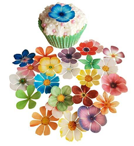 Vorgeschnittene schöne Blumen Mix I. Essbare Oblaten / Reispapier vorgeschnittene Cupcake Kuchen Dessert Topper Geburtstag Party Hochzeit Babyparty Dekorationen (24)