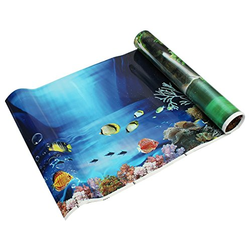 Carry stone Blue Fresh Sea Background Aquarium Ocean Landscape Poster Fish Tank Background Double-Sided Wallpaper