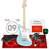 Squier Mini Jazzmaster Electric Guitar HH by Fender, Maple Fingerboard, Daphne Blue, with Clip-On Tuner, Fender California Instrument Cables, Nylon Jacquard Guitar Strap, and Essential Accessories