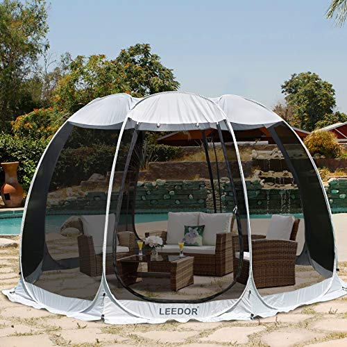 Leedor Gazebos for Patios Screen House Room 8-10 Person Canopy Mosquito Net Camping Tent Dining Pop Up Sun Shade Shelter Mesh Walls Not Waterproof Beige,12'x12'