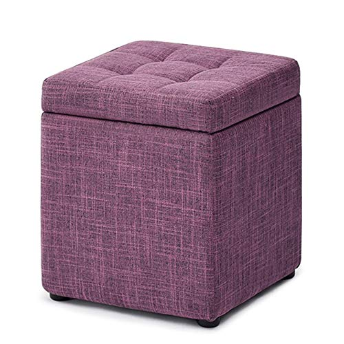 FLYFASH Storage Stool, Can Sit Adult Storage Box, Living Room Fabric Stool,Solid Wood Shoes Bench Foot Rest Stool Seat, Folding Toys Chest Collapsible for Kids (Color : Purple)