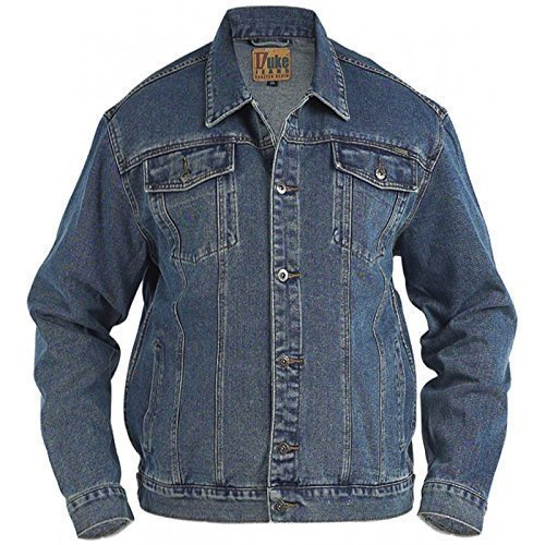 King size taille Hommes Jeans Veste DUKE camionneur Londres occidental délavé manteau - Pierre Délavé, 6XL