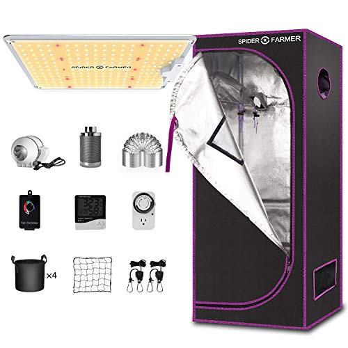 "Spider Farmer Grow Tent Kit Complete SF-1000 Full Spectrum LED Grow Light Compatible with Samsung Diodes & MeanWell Driver 27"" X 27"" X 62""Growing Tent 4 Inch Fan Filter Combo Setup Package System"