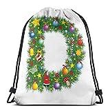 Lfff Sacs à Dos Sacs, Motif de pin avec des éléments de Noël de Couleur vibrante Alphabet Capital D Print, Fermeture de chaîne réglable