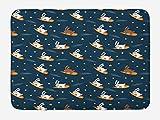ABAKUHAUS Niños Tapete para Baño, El Volar en Conejos Zanahoria, Decorativo de Felpa Estampada con Dorso Antideslizante, 45 cm x 75 cm, Gasolina Azul Naranja