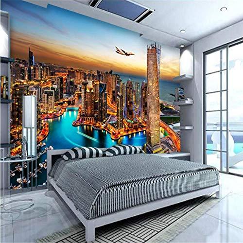 Aangepaste 3D Behang Dubai Nachtzicht Tv Achtergrond Woonkamer Slaapkamer Behang Home Decoratie 300×210cm