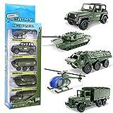 YIMORE Army Char Jouet Véhicule Militaire Camion Alliage Métal Voiture Modèle Noël Cadeau pour Enfants 3 4 5 Ans, 5pcs