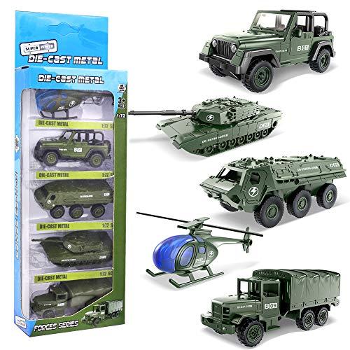 YIMORE Army Vehículo Militar Juguetes Set de Camiones Coches Juguete Navidad Regalo para Niños3 4 5 6, 5pcs