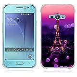 FUBAODA Funda para Samsung Galaxy J1 Ace Serie de la Pintura,[Torre Eiffel] Funda Protectora Anti-Golpes para para Samsung Galaxy J1 Ace(J110M J110F J110G J110L J111F)