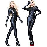 elegantstunning Sexy nero femmina ecopelle Catsuit PVC Latex completo tuta Zipper con apertura sul cavallo Stretch Clubwear Erotic Pole Dance Lingerie adulto
