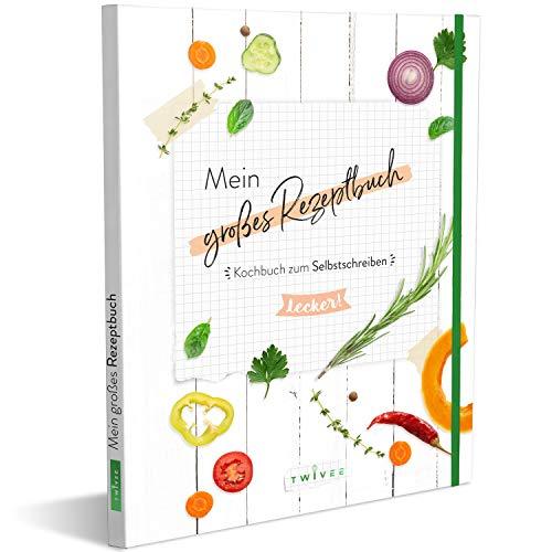 TWIVEE - Rezeptbuch zum Selberschreiben - 120 Seiten - DIY Kochbuch für eigene Rezepte - Inkl. Sticker-Set, Inhaltsverzeichnis, Register und Lesezeichen