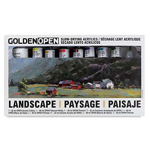 Golden Open Acrylic Landscape, Set Of 8 Multi