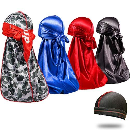4PCS Silky Durags for Men 360 Waves, Designer Do Rag, Award 1 Wave Cap (Sup Blue Black Red)
