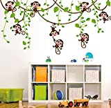 TOTOMO #W146 Monkey Wall Decals Removable Wall Decor Decorative Painting Supplies & Wall Treatments Stickers for Girls Kids Living Room Bedroom