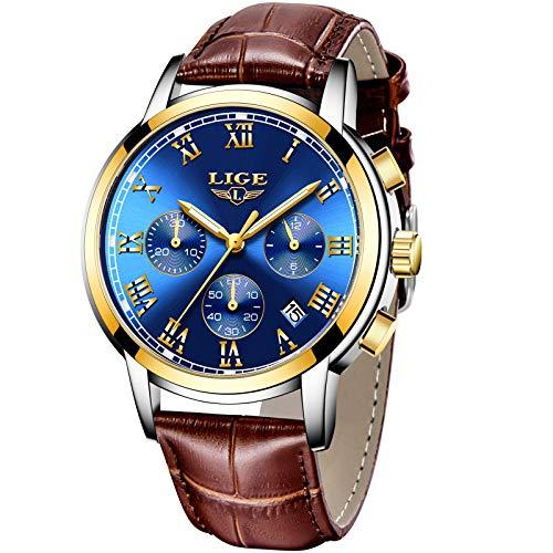 LIGE Herrenuhren,Mode Geschäft Blau Analoge Quarzuhr Luxus Braunes Leder Freizeit Datum Uhren