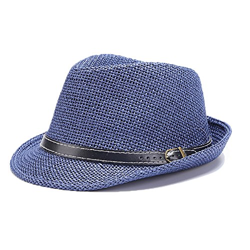 Doublebulls hats Chapeau Trilby Panama De Paille Homme Garçons Soleil Bleu