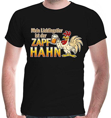 buXsbaum® Herren Unisex Kurzarm T-Shirt Bedruckt Mein Lieblingstier ist der Zapfhahn | Funshirt für Männer | M, Schwarz