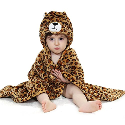 KVbaby Baby Keep Warm Badjas Mantel Kids Zachte Hooded Deken Wikkel Deken Outdoor Winddicht Deken Leopard-Brown