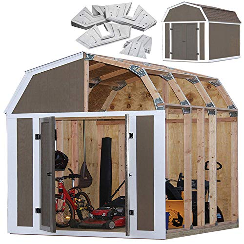 EZBUILDER Barn Style Shed Instant Framing Kit, Brown, 7'x8'