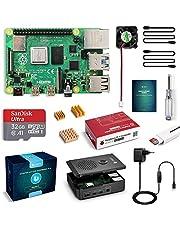 LABISTS Raspberry Pi 4 Model B 4GB RAM Starter Kit, RPi Barebone con MicroSD 32GB, Tipo C Alimentatore 5.1V 3A, Ventola, Micro HDMI, Lettore di Scheda e Custodia Protettiva Nera (4-32)