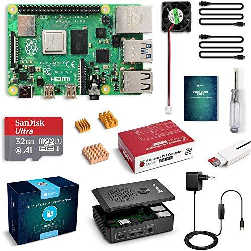 LABISTS Raspberry Pi 4 Model B 4GB RAM Starter Kit, RPi Barebone con MicroSD 32GB, Tipo C Alimentatore 5.1V 3A, Ventola, Micro HDMI, Lettore di Scheda e Custodia Protettiva Nera
