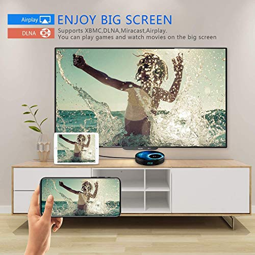 Android10.0 TV-Box [4G + 32G] mit Mini Tecladoinalámbirco RK3318 Quad-Core 64-Bit-Android-TV-Box, Wi-Fi-Dual 5G / 2,4G, BT 4.0, 4K * 2K UHD H.265, USB 3.0 Smart-TV-Box