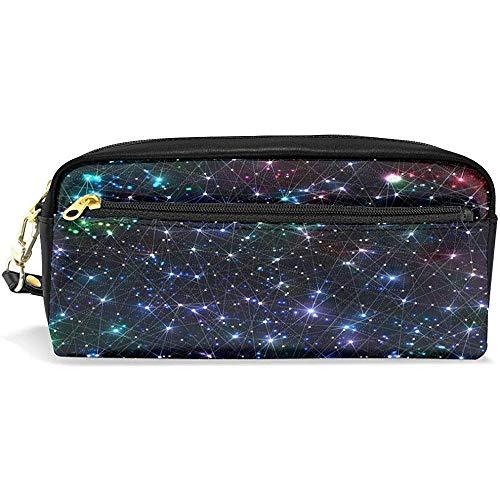 Galaxy Nebula Stardust Bright Shining Stars Geometrico Borsa cosmetica piccola Astuccio in pelle impermeabile per penna in pelle PU portatile