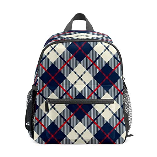 Kids Backpack Preschool Kids School Bag Boy Girl Lightweight Shoulder Book Bag for 1-6 Years Old Perfect Back Pack for Toddler to Kindergarten Cream Navy Red Geometric Plaid Cross