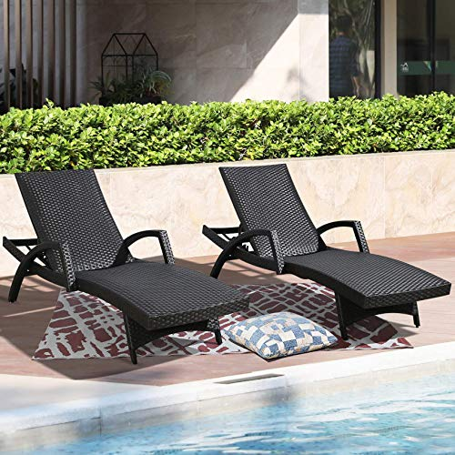 Patio Tree Patio Chaise Lounge Chair Outdoor Adjustable Backrest PE Rattan Reclining Chairs with Wheels and Armrests, Set of 2