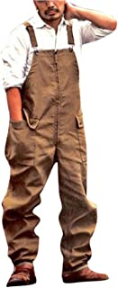 Men's Cargo Dungarees,Big Side Pockets Overall Casual Loose Fit Suspender Pants Hip Hop