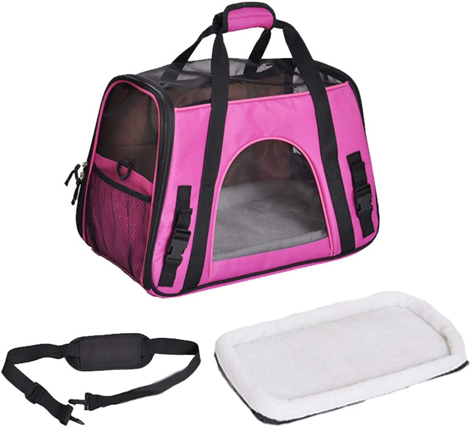 GWM Backpacks Portable Pet Travel Carrier Bag Dog Cat Carrier Tote, Premium Quality, Lightweight Travel Bag for Small Animals with Mesh on Top and Sides, with Fleece Mat (color   Pink)