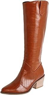 VulusValas Women Block Heel Knee High Boots