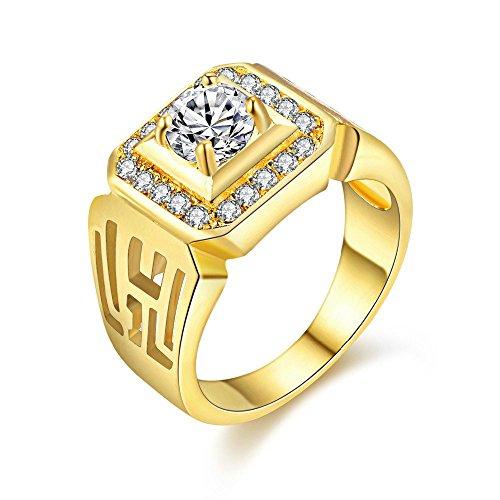 Uloveido Lujosa Alianza de Boda para Hombre de 18k Chapada en Oro con Diamante Redondo Simulado Cuadrado Anillo de Bandas de Compromiso de Zirconia Cúbica para Hombres JX001 (Oro, Tamaño 19)