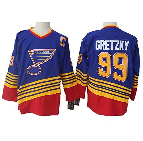 Yajun Wayne Gretzky#99 St. Louis Blues Eishockey Trikots Jersey NHL Herren Sweatshirts Atmungsaktiv T-Shirt Bekleidung,Blue,XL