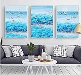 aoyukf 3 Stück Abstrakte Landschaft Waldhügel Möwen Muster Himmelblau Gemälde Mit Leinwand Wohnzimmer Dekoration-Rahmenlos-35X50Cmx3