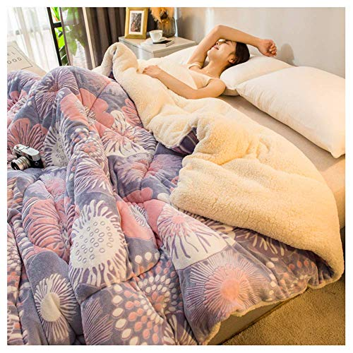 HZK Double-Sided Quilt Throw Blanket Quilt Winter Thickened Warmth Quilt Single Winter Lamb Cashmere Autumn and Winter Velvet Double Cotton Quilt,J,71×87 inch WDDT