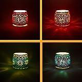 4er Set Orientalisches Mosaik Windlicht Ajub 7cm groß Bunt | Orientalische Glas Teelichthalter...