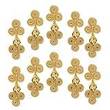 Baosity Botones De Cierre De Rana China De 10 Pares De Flores Nudos Costura/Artesanía De Tres Ruedas - Oro