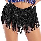 inlzdz Pantalones Cortos Deporte para Danza Jazz Moderno Pantalones con Lentejuelas Brillantes Braguitas Shorts Baile Latina Club Dancewear Negro XL