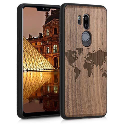 kwmobile Holz Schutzhülle für LG G7 ThinQ/Fit/One - Hardcase Hülle mit TPU Bumper Walnussholz in Travel Umriss Design Dunkelbraun - Handy Case Cover
