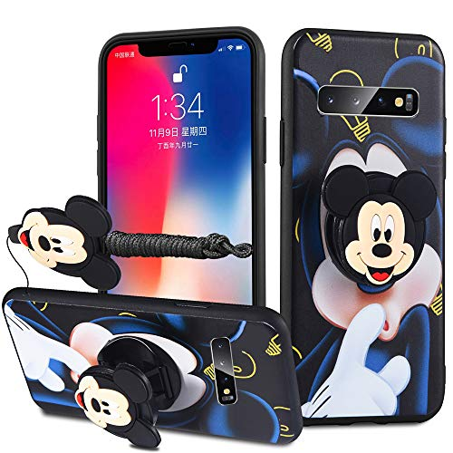 HikerClub Galaxy S10 Plus Case - Minnie Mickey Mouse Cartoon Case Soft Silicone TPU Shockproof Case with Phone Holder Stand and Detachable Long Lanyard for Girls Boys (Dark Blue, S10 Plus)