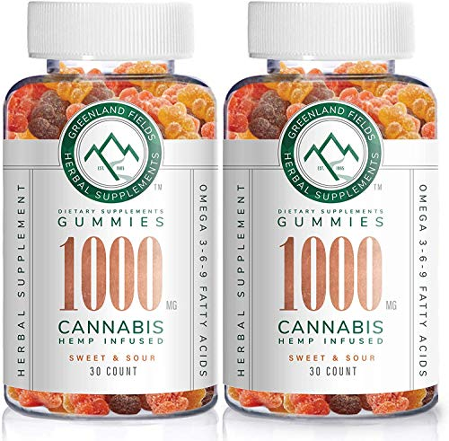 (2-Pack) Organic Hemp Chewy Bears - 1000MG - Active Joint & Muscle Relief, Better Sleep, Sweet & Sour, Infused with Colorado Grown Hemp, Rich in Omega 3-6-9 & Vitamin E, Non-GMO, Vegan.