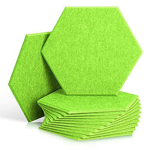 12 Pack Set Hexagon Acoustic Absorption Panel, 10 X 12 X 0.4 Inches Acoustic Soundproofing Insulation Panel Beveled Edge Tiles, Great for Wall Decoration and Acoustic Treatment (Green)
