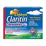 Claritin 24 Hour Allergy Chewables for Kids, Non Drowsy Allergy Relief, 40 Grape Antihistamine Tablets