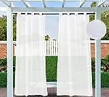 132x305cm Cortinas para Exteriores con Ojales, Color Blanco, Resistentes al Viento, Resistentes al Agua, Resistentes a la harina, para jardín, balcón, casa de Playa, vestíbulo, Cabana