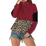 PRJN Jerséis para Mujer Tops de Gran tamaño Suéter de Manga Larga Casual Sexy Sudadera Holgada con Cuello en V Jersey de Punto Camisetas con Cuello Redondo Estampado de Leopardo Rayas Tops para Dama