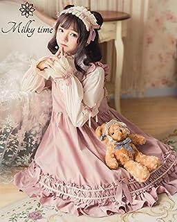 [milky time] ロリータ ワンピース ゴスロリ 風 レディース Lolita 森ガール シフォン コスチューム ゆめかわいい セット お嬢様 長袖 ピンク