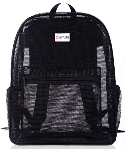 Mesh Backpack XL (40L) - 100% Clear Backpack with Key Holder - Bottle Opener - TSA Approved Lock - H20